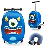 Boys Suitcase | Hand Luggage | Suitcase and Scooter in 1 | Monster | Suitcase Children - 21 L - Step + 3 Wheels | 5-9 Years - 50 KG - Bag Children | Box 40x20x25 cm incl. Neck Pillow Airplane