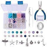 SUNNYCLUE 1 Box 650+ pcs Kits de Fabricación de Joyas de Lujo Collar de Pulsera con Dijes Kraft DIY Kits de Inicio de Abalorios Herramientas de Búsqueda para Niñas Adolescentes Adultos Mujeres