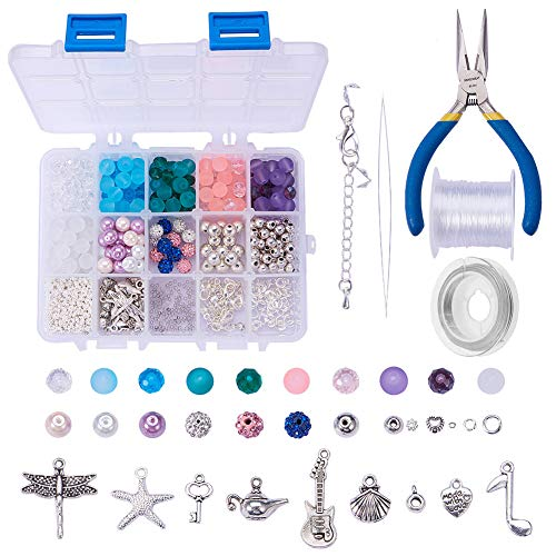 SUNNYCLUE 1 Box 650+ pcs Jewelry Making Kits Beaded Charm Bracelet Necklace DIY Craft Beading Starter Kits Finding Tools for Teen Girls Adults Women Friendship Instruction