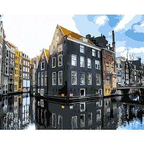 QAZEDC Frameless DIY schilderij volwassenen Water City Scenery Landschap DIY Woonkamer Kleurplaten Door cijfers Decor Art Home Decoratie Art foto 50x40cm / 20X16inch