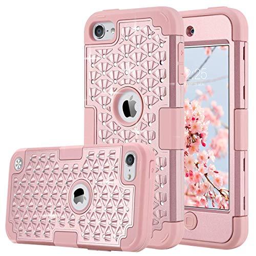 ULAK Coque iPod Touch 5/6/7, iPod Coque 3in1 Hybride Antichoc en Silicone Housse Étui de Protection pour Apple iPod Touch 5/6/7ème Génération - Bling Or Rose