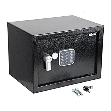 Finnkarelia 0.5 Cubic Digital Security Box, Safe Box, Security Safe for Jewelry, Gun, Cash, Passport and more, Compact Size 13.8x9.8x9.8 inches, Black (0.17/0.3/0.5 cubic feet)