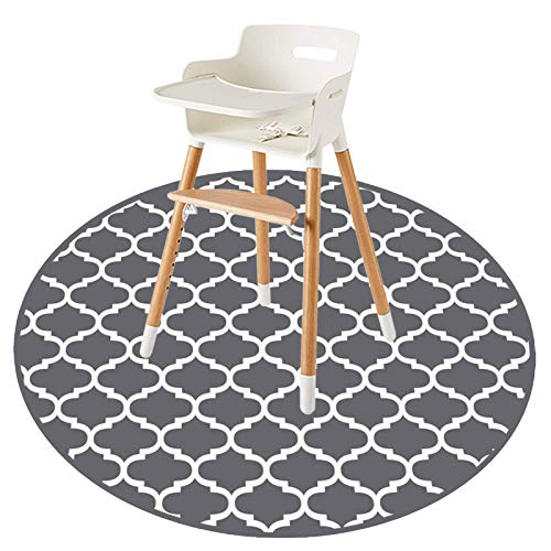 """Round Splat Mat for Under High Chair/Arts/Crafts by CLCROBD, 53"""" Baby Anti-Slip Food Splash and Spill Mat for Eating Mess, Waterproof Floor Protector and Table Cloth (Round Lattice)"""