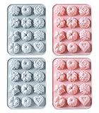 4 PIEZAS Moldes de silicona de grado alimenticio, moldes para hornear con flores y forma de...