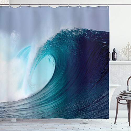"""Ambesonne Ocean Shower Curtain, Tropical Surfing Huge Wave on a Windy Sea Indonesia Sumatra Picture Print, Cloth Fabric Bathroom Decor Set with Hooks, 70"""" Long, White Blue"""