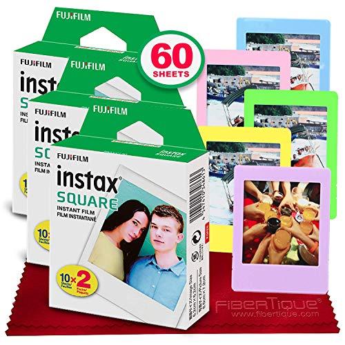 Fujifilm instax Square Instant Film (60 Exposures) Compatible with FujiFilm Instax Square SQ6, SQ10 and SQ20 Instant Cameras + 5 Color Picture Frames + FiberTique Cleaning Cloth