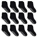 HYCLES Calzini per bambini – 12 paia di calzini antiscivolo in ABS, per bambini e bambini da 1 a 10 anni 03 nero. 5-7 anni