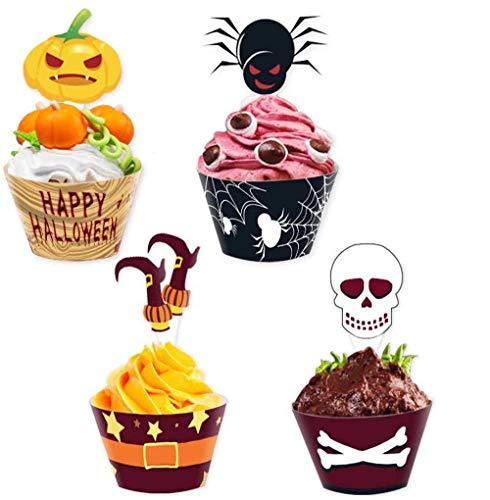 Toppery babeczki, owijki babeczek Halloween 24 zestawy dekoracje babeczek na artykuły imprezowe zestaw