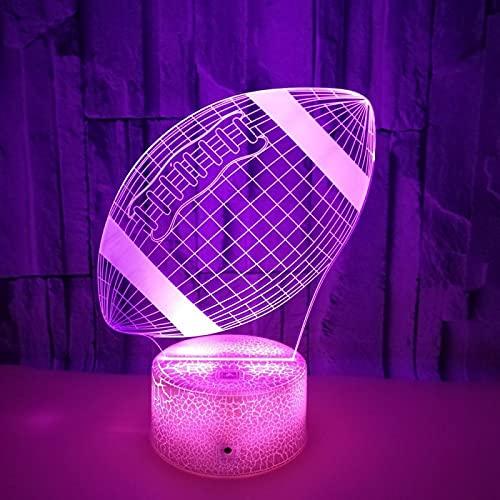 Yyhmkb Lamparas De Mesita De Noche Base Lamparas De Mesita Automatico Rugby Colorido Pequeña Lámpara De Mesa Táctil Teledirigido Colorida Luz De Noche 3D