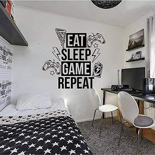 Vinilo moderno para dormir con Player Pizza Player Control Adhesivo de pared