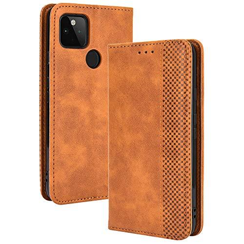 TANYO Leder Folio Hülle für Google Pixel 4A 5G (Not for 4G Version), Premium Flip Wallet Tasche mit Kartensteckplätzen, PU/TPU Lederhülle Handyhülle Schutzhülle - Braun