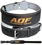 AQF Leather Weight Lifting Belt Body Building Fitness Gym Back Support Padded (Medium (28'-32'))