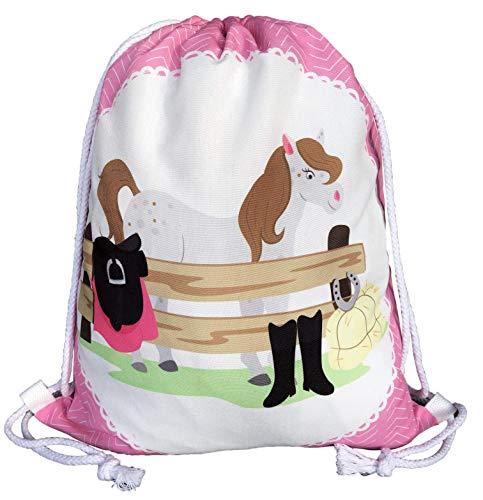 Mochila HECKBO® para niñas con Dibujo de Caballo - Impresa por ambas Caras con Dibujos de Caballos de Colores - 40x32 cm - el jardín de Infancia, para IR de Vacaciones o para Las Clases de equitación