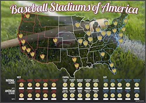 Baseball Stadiums of America Scratch Off Map | Lists National & Major League Teams | MLB Ballpark...