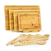#LightningDeal Smirly Bamboo Cutting Board Set: Wood Cutting Boards for Kitchen, Wood Cutting Board Set, Chopping Board Set, Wooden Cutting Boards for Kitchen Large Wooden Cutting Board Set, Small Cutting Board Wood