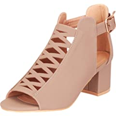 f5f87b301ff Cambridge Select Women s Open Toe Laser Cutout Crisscross Cag ...  24.12 · Womens  Open Toe Ankle Strap Cutout Double Buckle Zipper Back Stacked Heel Sandals
