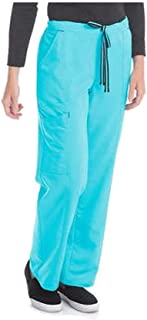 Women's Premium Collection Rayon Drawstring Cargo Scrub Pants (3X, Turquoise)
