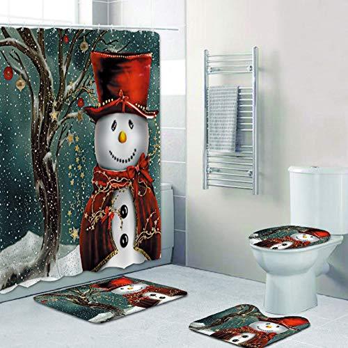 Merry Christmas Shower Curtain Sets,Xmas Bathroom Decor...