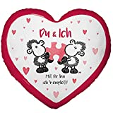 Sheepworld 45328 kleines Herz, Plüsch-Zierkissen, 25 cm x 25 cm Kissen 100% Polyester Rot, Weiß