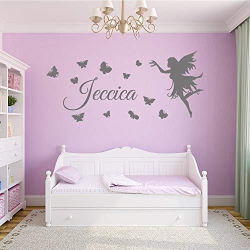 hetingyue vlinder en fee naam op maat gesneden sticker decoratie vinyl muursticker slaapkamer prinses behang