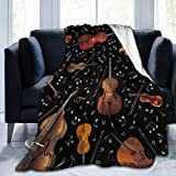 Dujiea Violin Music Note Fuzzy Flannel Blanket Throw 40'X50', Super Soft Lightweight Blanket Throw for Couch Chair Sofa, Cozy Bed Blanket for Kids Adults