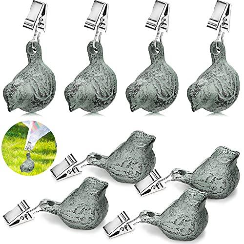 8 Piezas Pesos Vintage de Mantel Kit de Pesas Colgantes con Cclip para Mantel Peso de Cubierta de Mesa de Pájaros Antiguos de Hierro Fundido para Picnic Campamento en Aire Libre Jardín