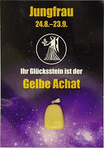 Edelstein-Sternzeichenanhänger   Glücksstein für die Sternzeichen mit Infokärtchen (Jungfrau - Achat)
