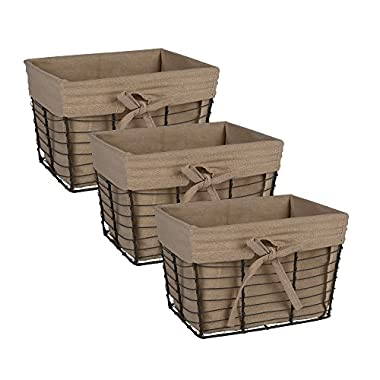 DII Home Traditions Vintage Metal Chicken Storage Basket with Removable Liner, Set of 3 Small Sized, Desert Taupe Fabric with Grey Wire