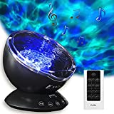 Ocean Wave Projector and Sound Machine - Night Light Projector with Color Changing Wave Light Effects – Music Lamp for Kids Adults Bedroom – Black