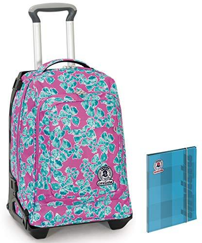 Trolley INVICTA TECH + Cartellina - Rosa - 2in1 Zaino Sganciabile - 34 LT Scuola e viaggio