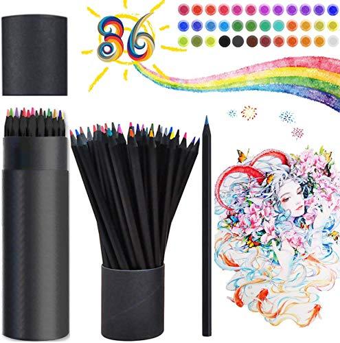 Juego de lápices de colores profesionales Keephic de 36 colores, portalápices negro,...