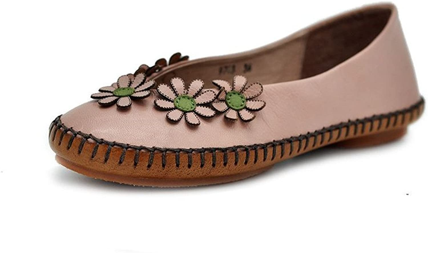 Dwarves Pink Handmade Leather Flat Loafer shoes with Flowers for Women