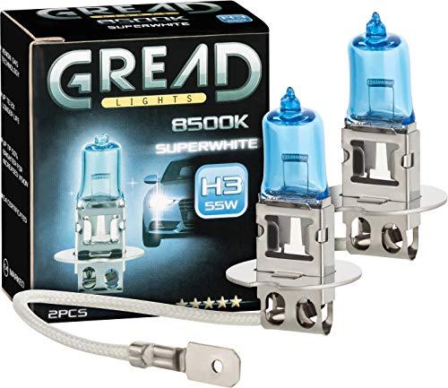 Gread - 2x H3 Halogen Scheinwerferlampe - superweiß - 8500k 55W - E-Prüfzeichen