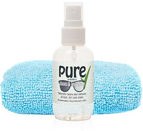 The Pure-Kit per pulizia di lenti e occhiali, 60 ml, contiene solo-Eco Friendly biodegradabile, ipoallergenico e senza ingredients. alcol o artificiali chemicals. Naturally rimuove polvere, grasso, iscrizioni e macchie di bicchieri, Occhiali da sole, lenti per occhiali da lettura, e senza occhiali danneggiare il rivestimento.