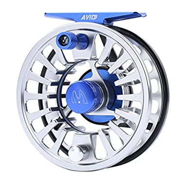 M MAXIMUMCATCH Maxcatch Avid Fly Fishing Reel with CNC-machined Aluminum Alloy Body 3/4,5/6, 7/8wt (Silver,Black,Blue,Green) (Silver+Black, 5/6wt)