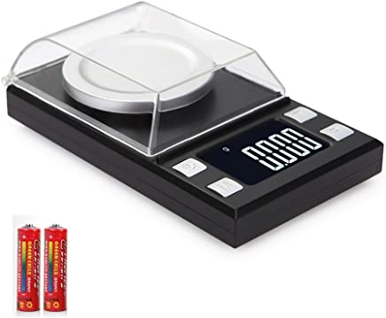 High Precision Digital Milligram Scale 100 X 0.001g Reloading Jewelry Scale Digital Weight with Calibration Weights Tweezers and Weighing Pans (Batteries included)