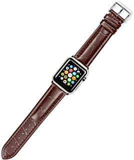 Debeer Replacement Watch Strap - Breitling Style Matte Alligator Grain - Brown - Fits 42mm Apple Watch [Silver Adapters]