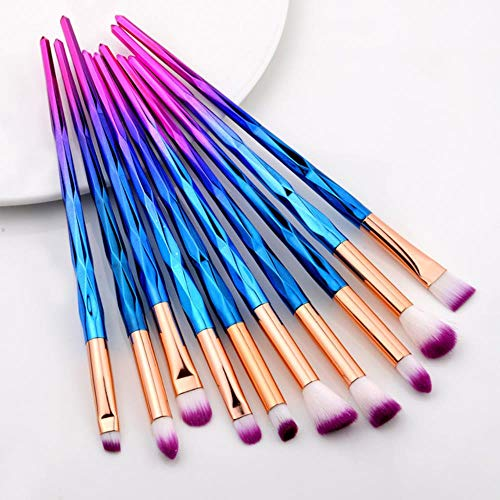 Heng 20Pcs Pinceaux de Maquillage des Cils Set Ombre à paupières Brosse à Sourcils Brosse Fondation Mascara Brushes Cosmetic Tools Kits, 10pcs Violet Bleu