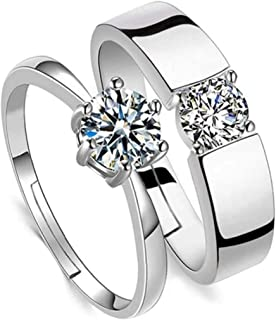 MEENAZ Couple CZ AD Solitaire Rings Proposal American diamond Stylish Valentine Gifts Platinum Silver Love Heart Single Ad...