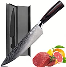 Chef Knife - Damascus pattern 8 Inch Pro Kitchen Knife,Meat Cutting Knife,Ultra Sharp,German High Carbon Stainless Steel Knives with Ergonomic Handle