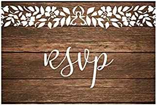 RSVP Cards for wedding Invitation 50 4x6 RSVPs Rustic Wood White Lace RSVP Postcards with No Envelopes. Paper Response Reply RSVP Post Card kit for home dinner Party invitations, bridal shower invites