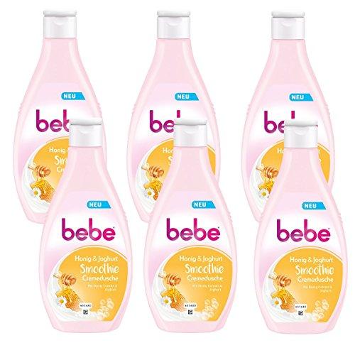 bebe Honig & Joghurt Smoothie Cremedusche - Cremige Pflegedusche mit fruchtigem Duft - Spendet Feuchtigkeit - 6 x 250ml