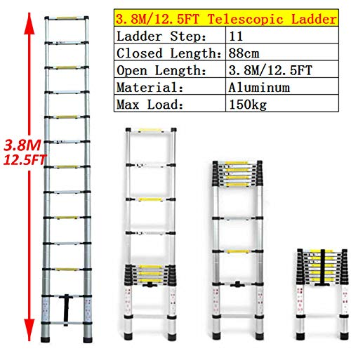 Extension Ladders 12.5ft Aluminum Retractable Stepladder Folding Compact for Home Daily Use Indoor Outdoor Attic Loft Climb Ladder Straight EN131