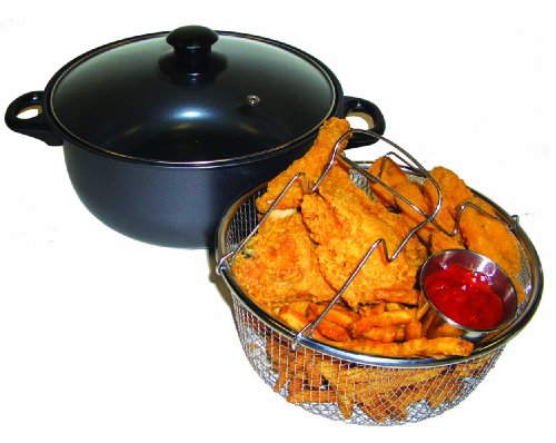 ExcelSteel Non Stick All in One Deep Fryer and Dutch Oven, 4.5 quart, Black