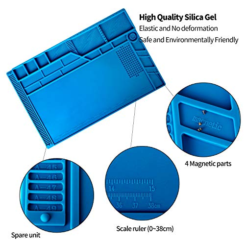 Kaisiking 4 Pcs Large Soldering Mat Set Silicone Repair Mat Placing Screws with Anti-Static Wrist and 2 Tweezers Computer Repair Mat for Soldering, Electronics Repair,Size 21.6 x 13.8 Inch