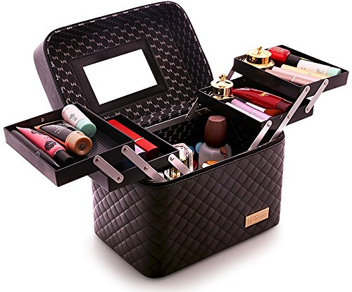 Sooyee Multifunction Travel Cosmetic Bag with Mirror, 4...