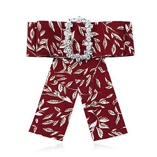 Broche Pin Joyería de las mujeres, Las mujeres flor exquisita Impresiones de la hoja de cristal Rhinestone Bowknot broche ramillete Traje camisa de fiesta de la boda pre atado corbata Regalos de Boda