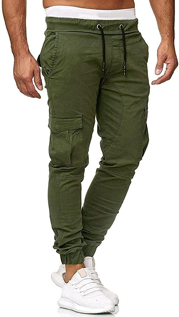 Beshion Men's Jogger Sweatpants Casual Elastic Cargo Pants Sport Solid Tapered Trousers Athletic Track Pants with Pocket