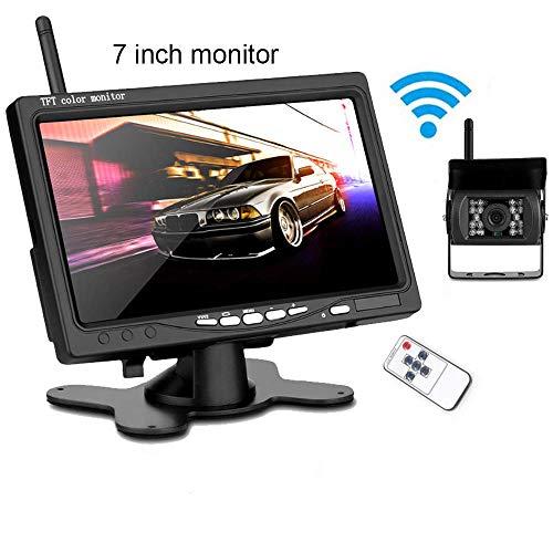 Caméra de Recul sans Fil Kit 7 Pouces HD TFT LCD Moniteur Signal Amélioré 2.4G/IP67 étanche/Vision Nocturne de 18pcs LED,pour...
