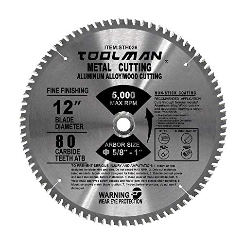 Toolman 12'' 80T Circular Saw Blade Premium For metal, aluminum, wood, steel cutting STH026